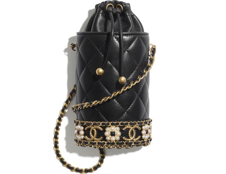 image 1 - Bucket with Chain - Lambskin, Imitation Pearls & Gold-Tone Metal - Black