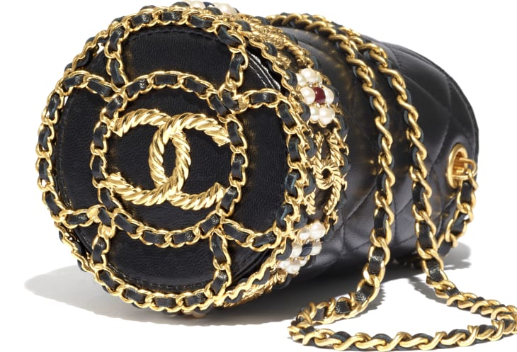 image 4 - Bucket with Chain - Lambskin, Imitation Pearls & Gold-Tone Metal - Black