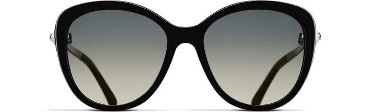 image 2 - Butterfly Sunglasses - Acetate & Imitation Pearls - Black