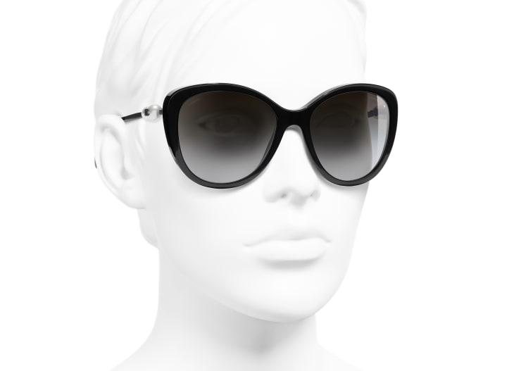 image 6 - Butterfly Sunglasses - Acetate & Imitation Pearls - Black