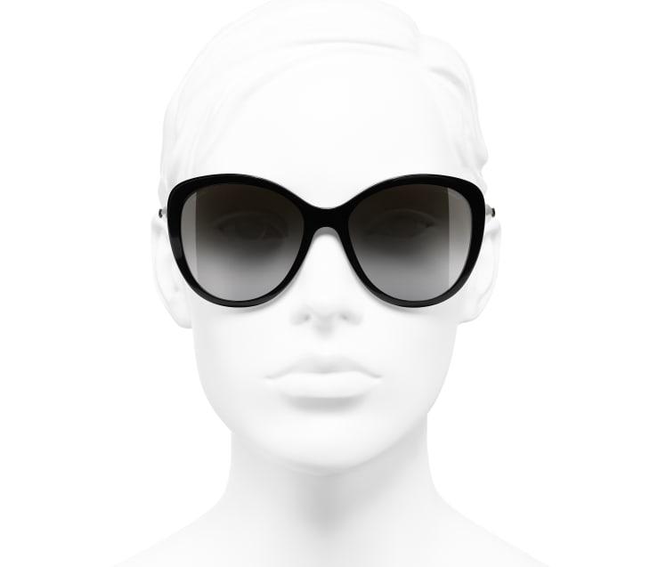 image 5 - Butterfly Sunglasses - Acetate & Imitation Pearls - Black