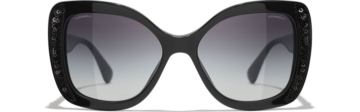 image 2 - Butterfly Sunglasses - Acetate & Sequins - Black