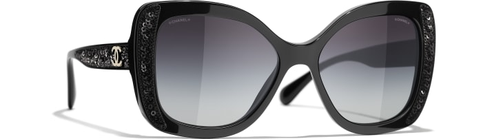 image 1 - Butterfly Sunglasses - Acetate & Sequins - Black
