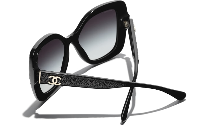 image 4 - Butterfly Sunglasses - Acetate & Sequins - Black
