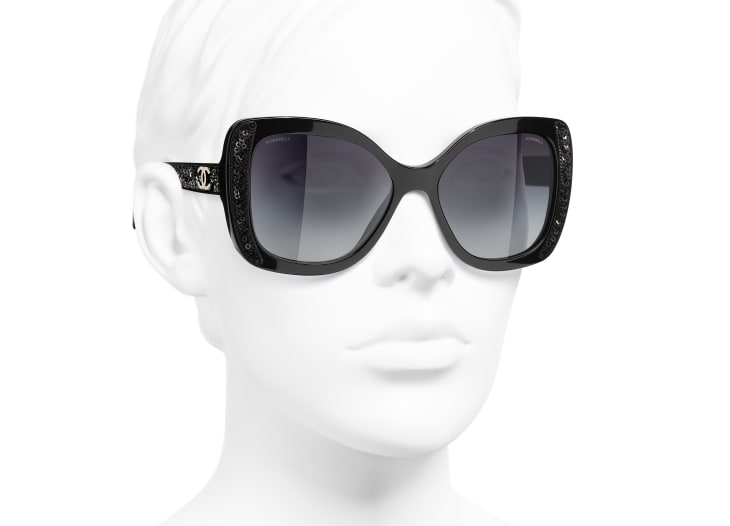 image 6 - Butterfly Sunglasses - Acetate & Sequins - Black