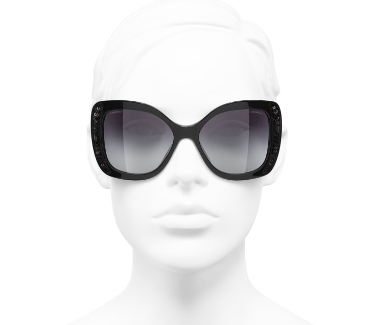 image 5 - Butterfly Sunglasses - Acetate & Sequins - Black