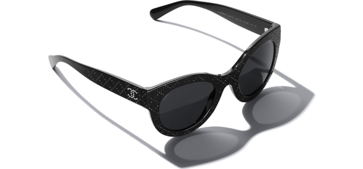 image 4 - Butterfly Sunglasses - Acetate & Strass - Black