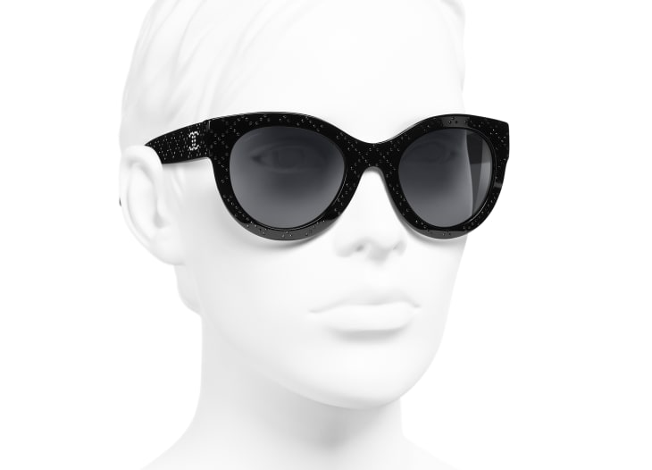 image 6 - Butterfly Sunglasses - Acetate & Strass - Black