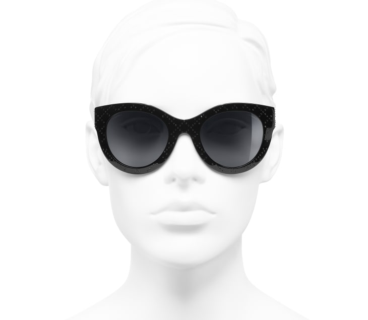 image 5 - Butterfly Sunglasses - Acetate & Strass - Black