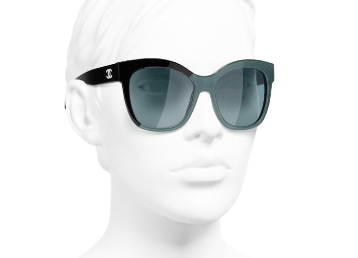 image 6 - Óculos De Sol Em Formato Borboleta - Acetato - Preto & Verde