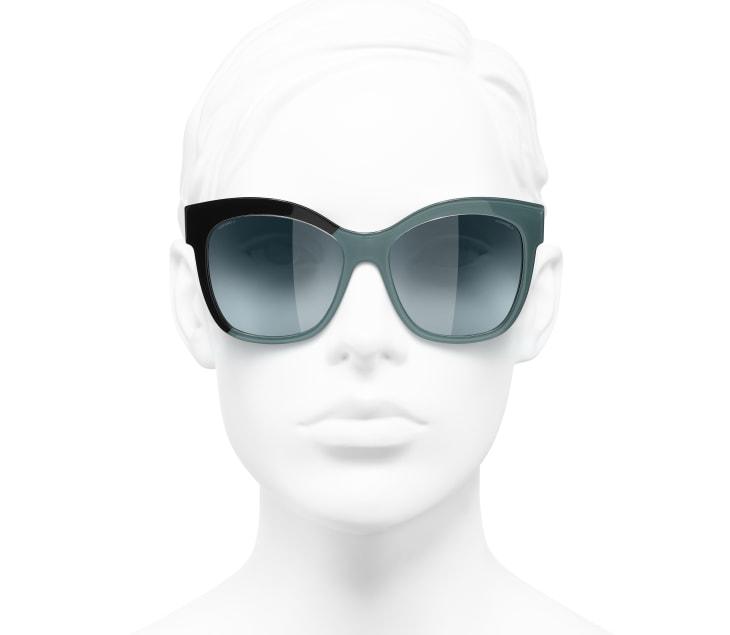 image 5 - Óculos De Sol Em Formato Borboleta - Acetato - Preto & Verde