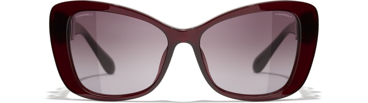 image 2 - Butterfly Sunglasses - Acetate & Glass Pearls - Dark Red