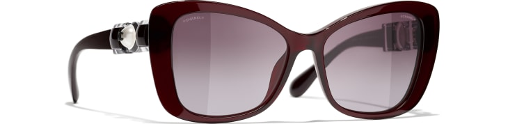 image 1 - Butterfly Sunglasses - Acetate & Glass Pearls - Dark Red
