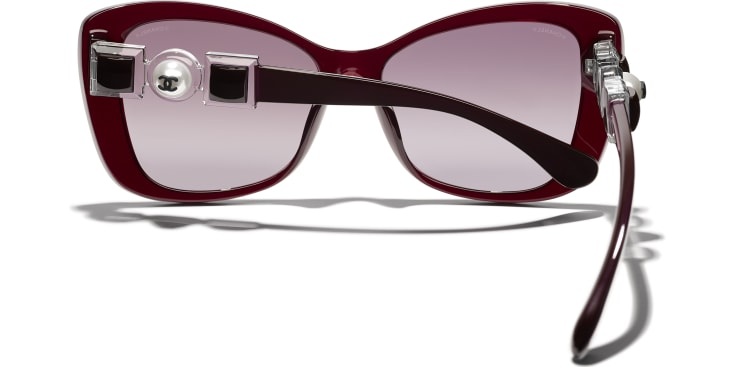 image 4 - Butterfly Sunglasses - Acetate & Glass Pearls - Dark Red