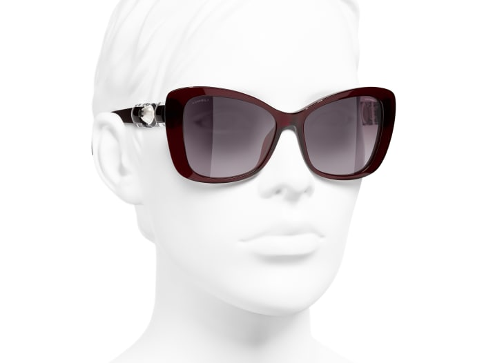 image 6 - Butterfly Sunglasses - Acetate & Glass Pearls - Dark Red