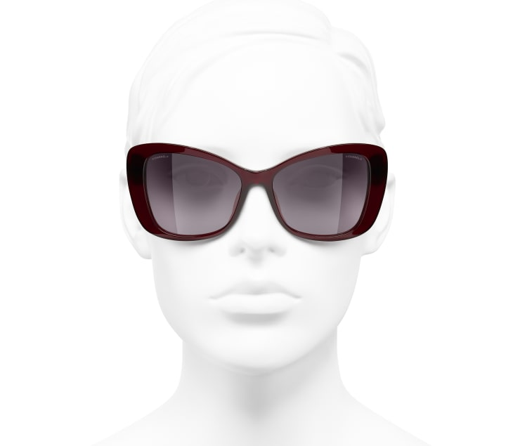 image 5 - Butterfly Sunglasses - Acetate & Glass Pearls - Dark Red