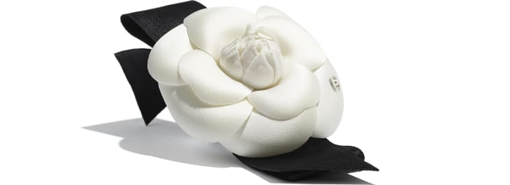 image 2 - Camellia - Silk, Cotton & Mixed Fibers  - Ivory & Black