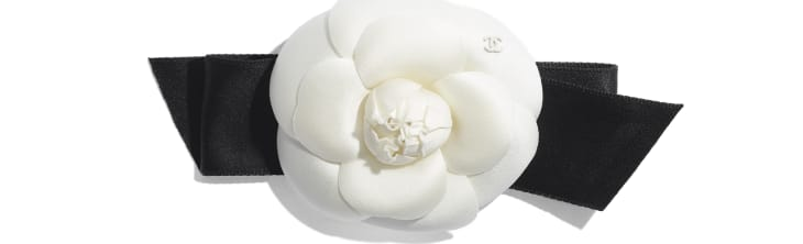image 1 - Camellia - Silk, Cotton & Mixed Fibers  - Ivory & Black