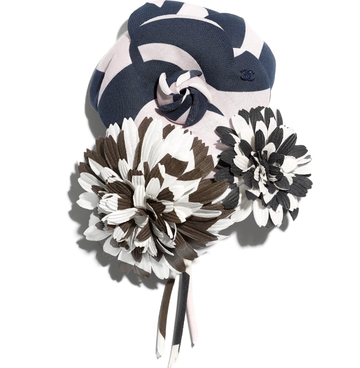image 1 - Camellia - Cotton - Pale Pink, Navy Blue & Black
