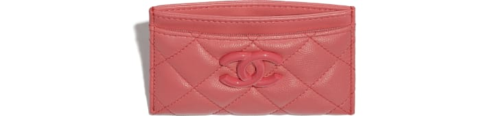 image 2 - Card Holder - Grained Calfskin & Lacquered Metal - Coral