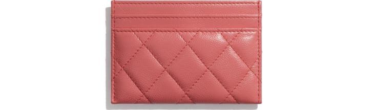 image 3 - Card Holder - Grained Calfskin & Lacquered Metal - Coral