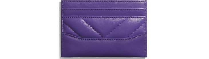 image 2 - Card Holder - Aged Calfskin, Smooth Calfskin, Gold-Tone, Silver-Tone & Ruthenium-Finish Metal - Purple