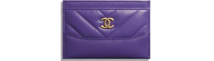 image 1 - Porte-cartes - Veau vieilli, veau lisse, métal doré, argenté & finition ruthénium - Violet