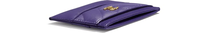 image 4 - Card Holder - Aged Calfskin, Smooth Calfskin, Gold-Tone, Silver-Tone & Ruthenium-Finish Metal - Purple