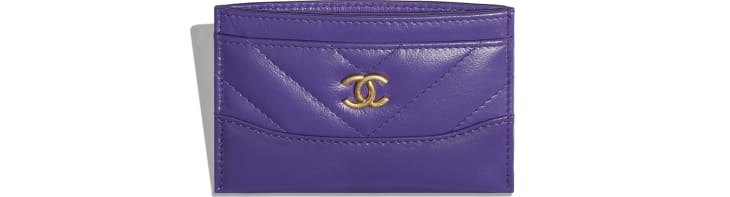 image 3 - Card Holder - Aged Calfskin, Smooth Calfskin, Gold-Tone, Silver-Tone & Ruthenium-Finish Metal - Purple