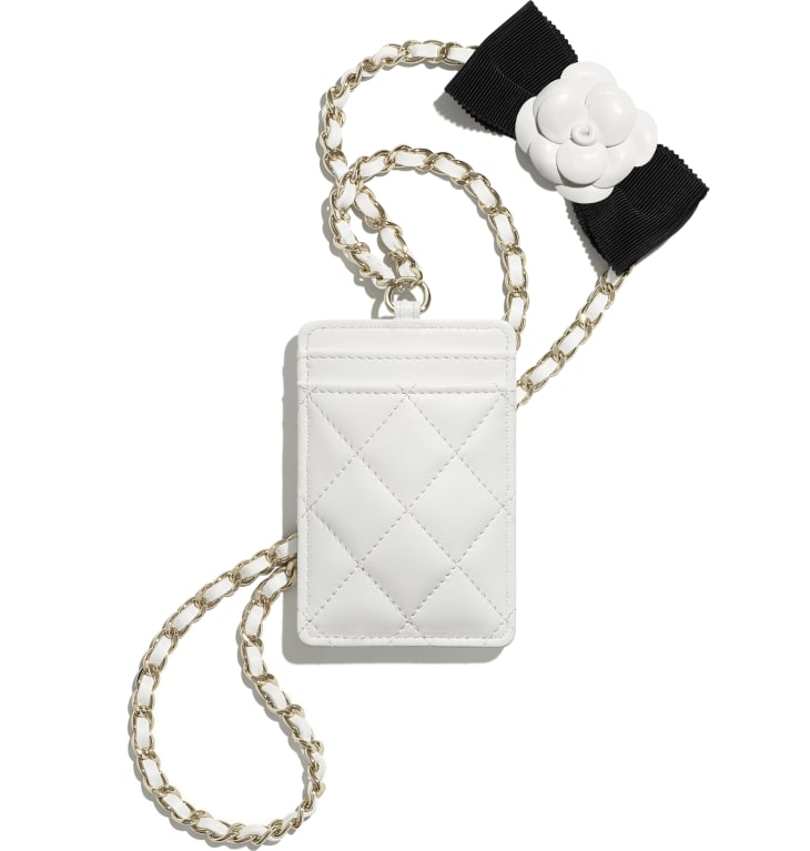 image 2 - Card Holder with Chain - Lambskin & Gold-Tone Metal - White