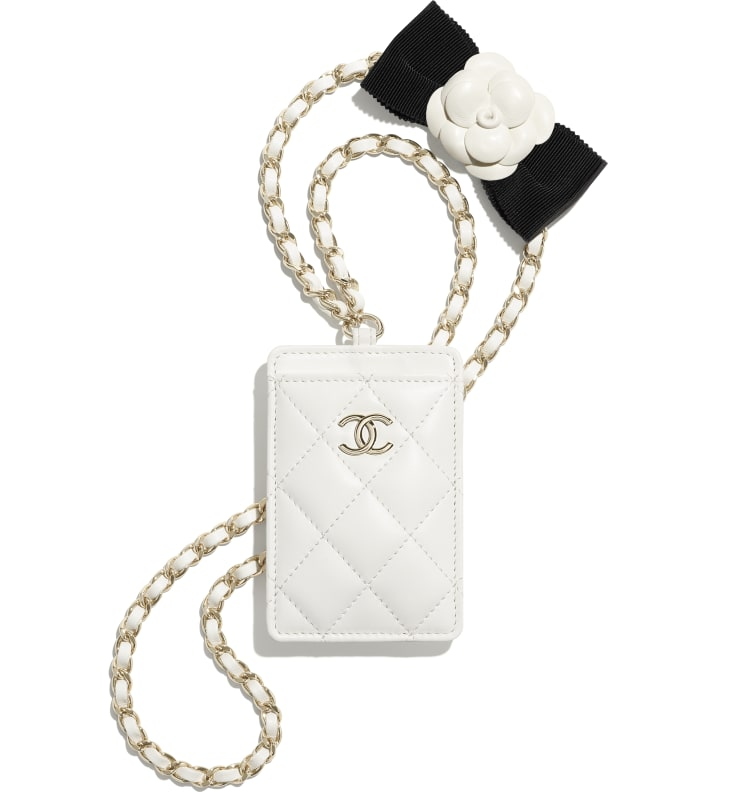 image 1 - Card Holder with Chain - Lambskin & Gold-Tone Metal - White
