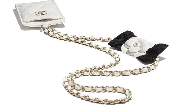 image 4 - Card Holder with Chain - Lambskin & Gold-Tone Metal - White