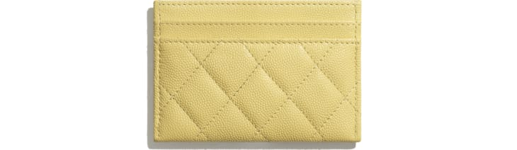 image 2 - Card Holder - Grained Calfskin & Laquered Gold-Tone Metal - Yellow