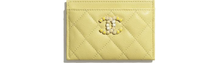 image 1 - Card Holder - Grained Calfskin & Laquered Gold-Tone Metal - Yellow