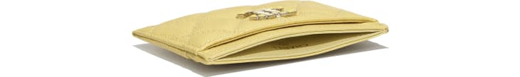 image 4 - Card Holder - Grained Calfskin & Laquered Gold-Tone Metal - Yellow