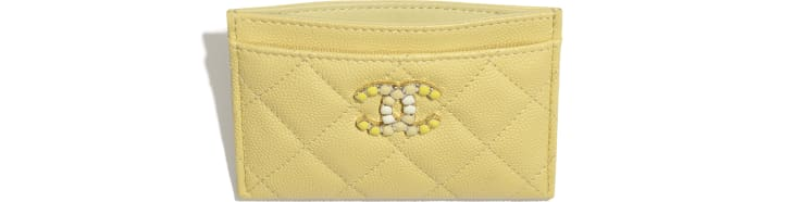 image 3 - Card Holder - Grained Calfskin & Laquered Gold-Tone Metal - Yellow