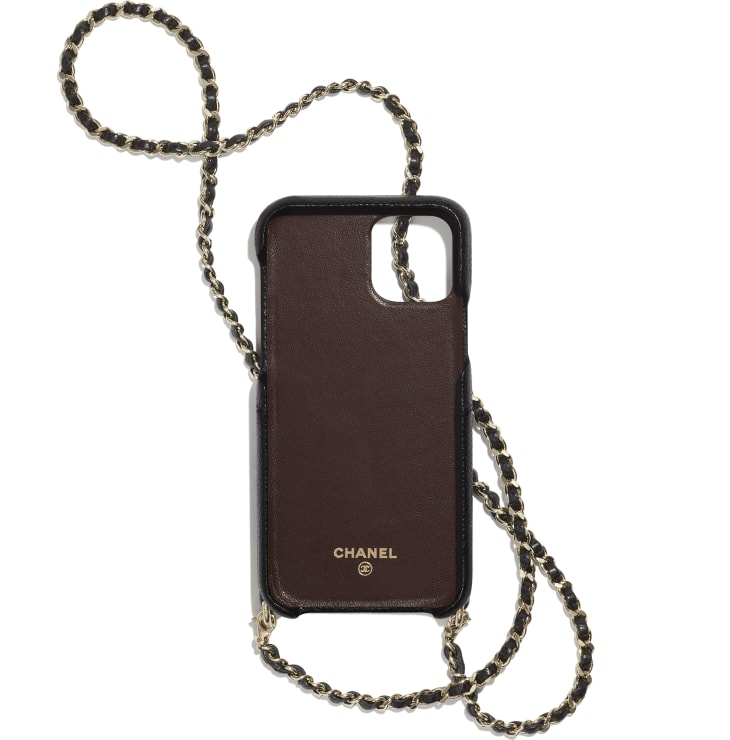 image 2 - Case for iPhone XI Pro with Chain - Grained Lambskin & Gold-Tone Metal - Black