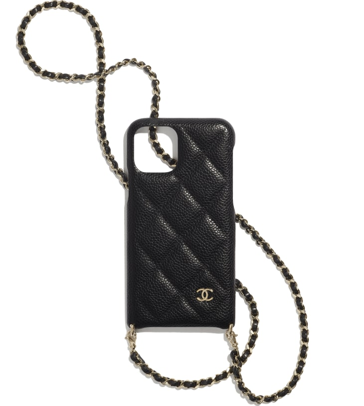 image 1 - Case for iPhone XI Pro with Chain - Grained Lambskin & Gold-Tone Metal - Black