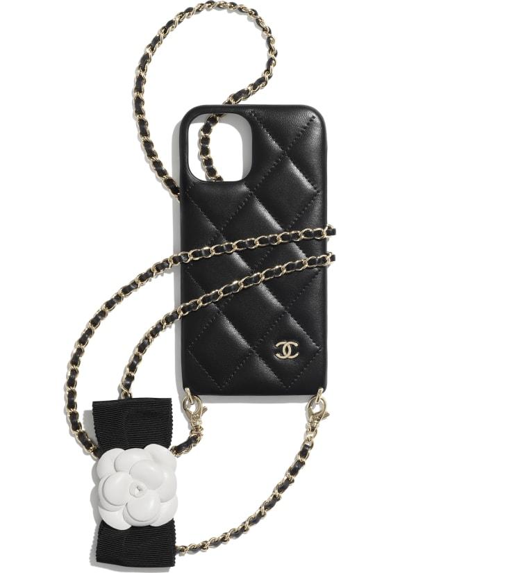 image 1 - Étui pour iPhone XII Pro avec chaîne - Agneau & métal doré - Noir