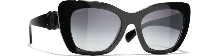 image 1 - Cat Eye Sunglasses - Acetate - Black