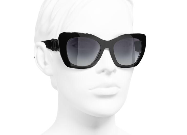 image 6 - Cat Eye Sunglasses - Acetate - Black
