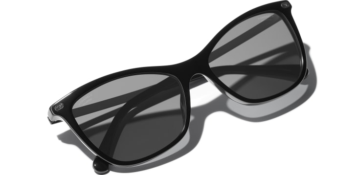 image 4 - Cat Eye Sunglasses - Acetate & Calfskin - Black