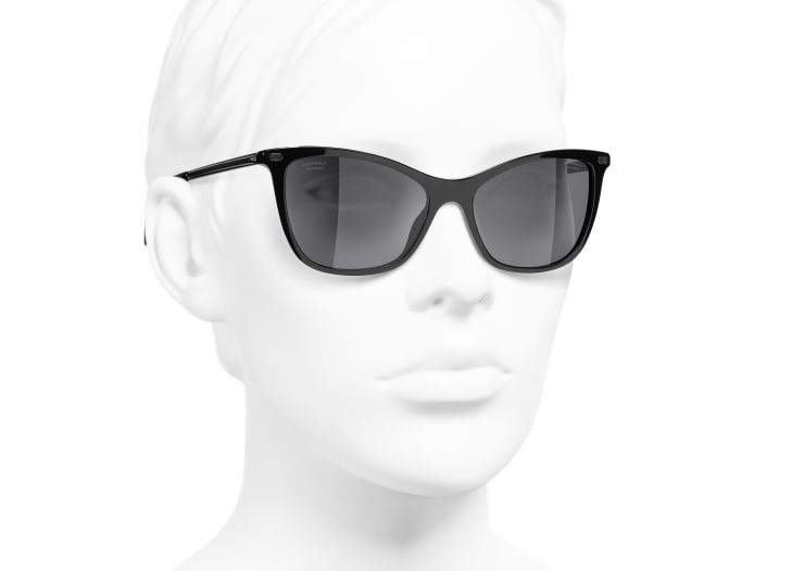 image 6 - Cat Eye Sunglasses - Acetate & Calfskin - Black