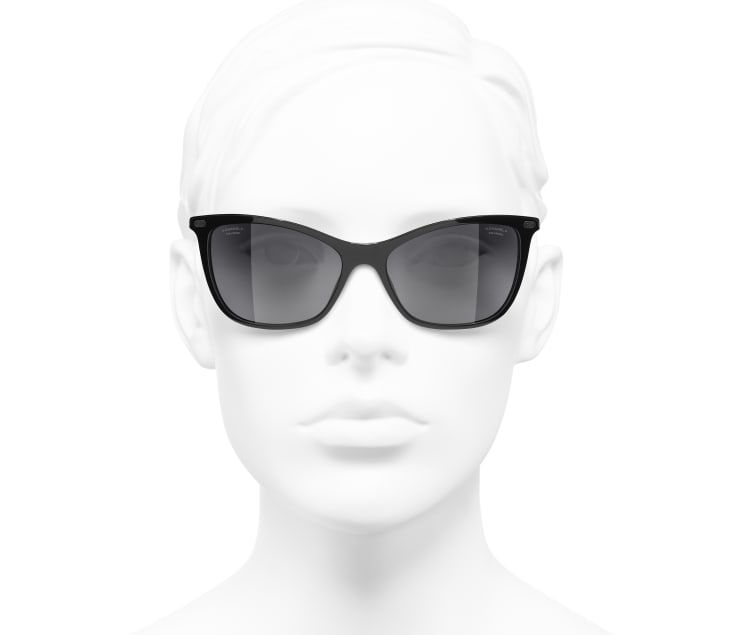 image 5 - Cat Eye Sunglasses - Acetate & Calfskin - Black