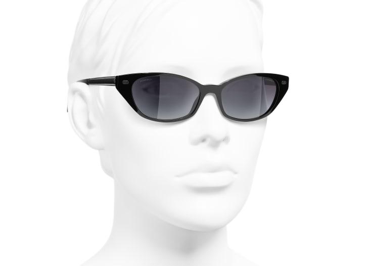 image 6 - Cat Eye Sunglasses - Acetate & Lambskin - Black