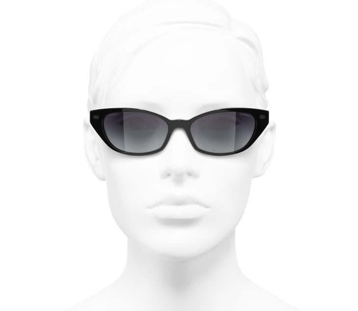 image 5 - Cat Eye Sunglasses - Acetate & Lambskin - Black