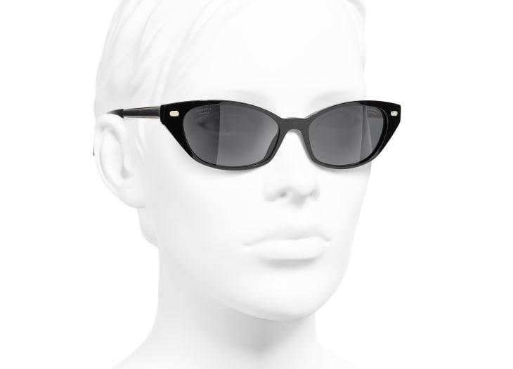 image 6 - Cat Eye Sunglasses - Acetate & Lambskin - Black & Gold