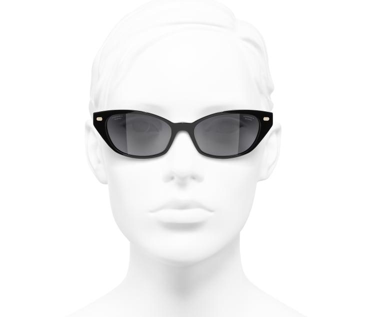 image 5 - Cat Eye Sunglasses - Acetate & Lambskin - Black & Gold