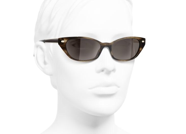 image 6 - Cat Eye Sunglasses - Acetate & Calfskin - Brown