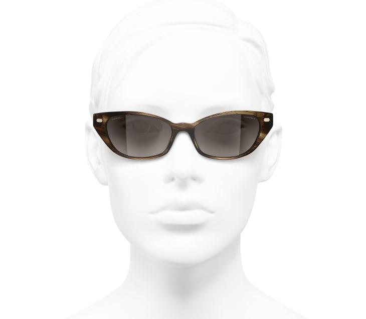 image 5 - Cat Eye Sunglasses - Acetate & Calfskin - Brown